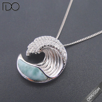 2017 hot sale custom 925 sterling silver pendant,Sea life jewelry larimar pendants