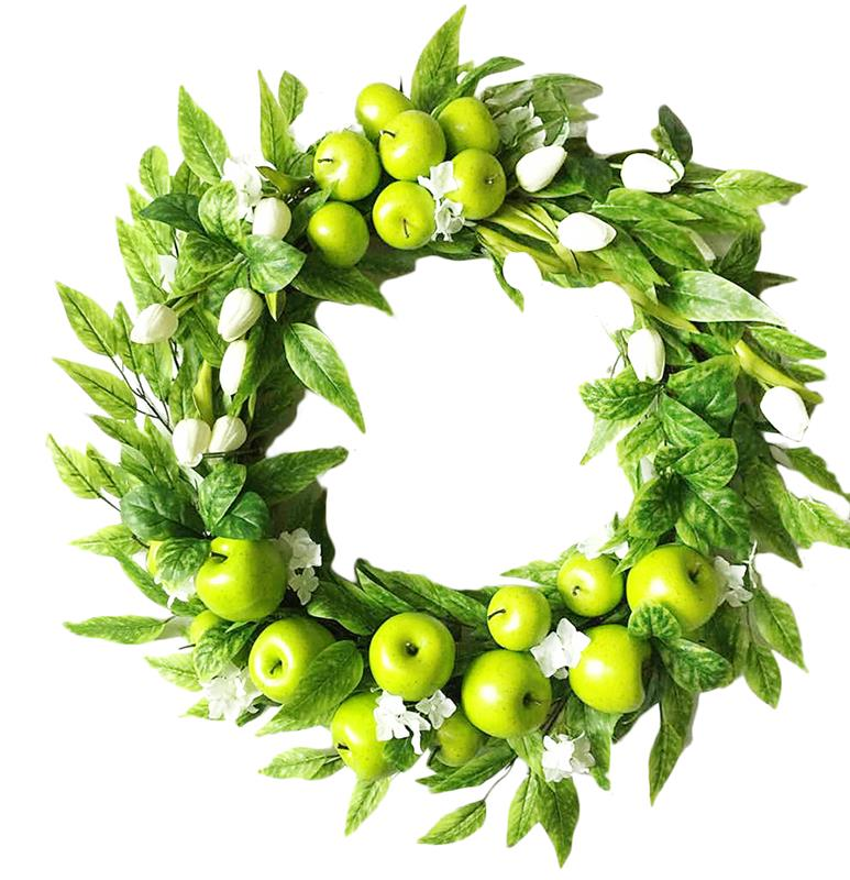 New design spring wreath tulip wreath artificial wreath with apple