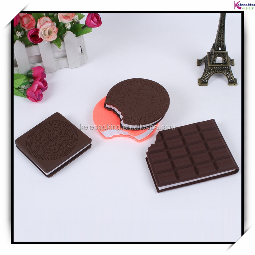 2016 fashion custom design chocolate cookie shaped sticky note pad paper die cut cube memo pad