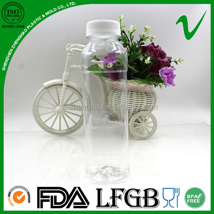 custom clear fresh square 420ml cold juice plastic bottle with white cap
