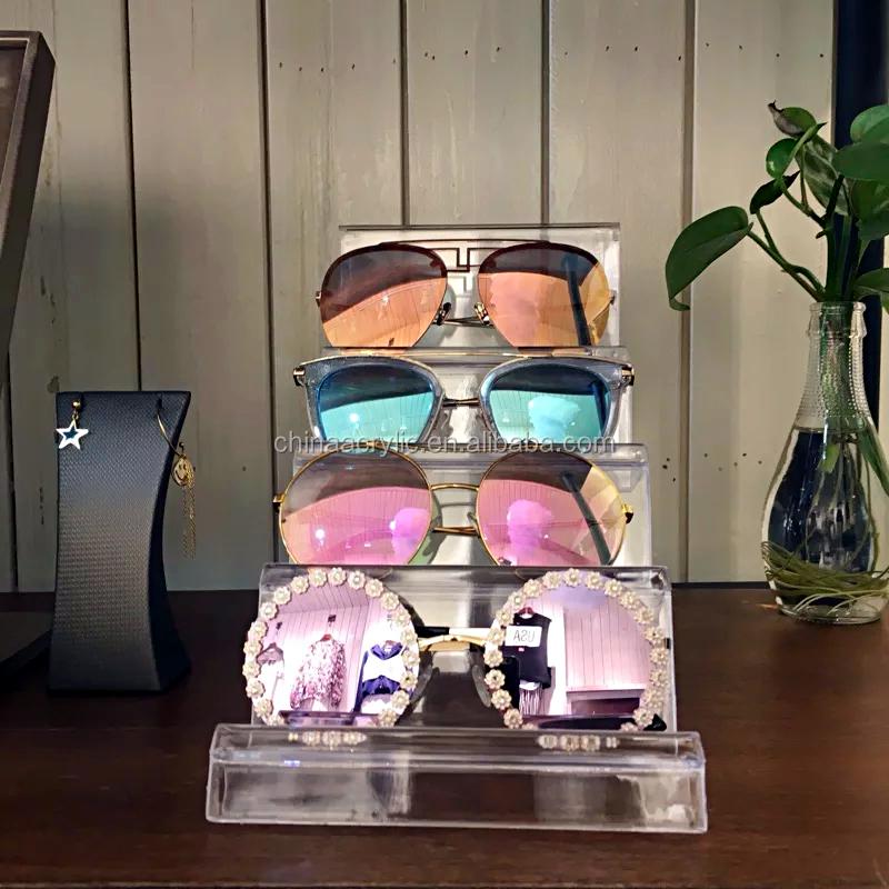 2 Tier SUNGLASSES DISPLAY RACK STAND EYEWEAR HOLDER Clear Acrylic Store Display