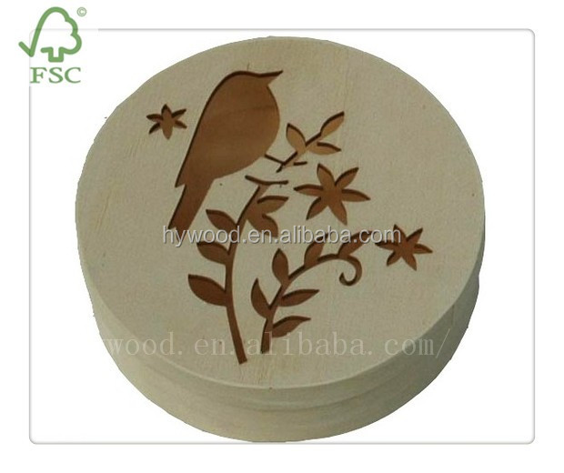 environmental lunch box one-off thin cake cheese mooncake pizza round packaging wood boxes with custom laser cut logo