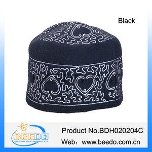 ed2e5758b Beautiful embroidery wool felt muslim kufi skull cap
