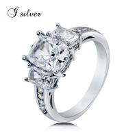 Wholesale thailand 925 sterling silver CZ 3 Stone ladies unique wedding rings R500370