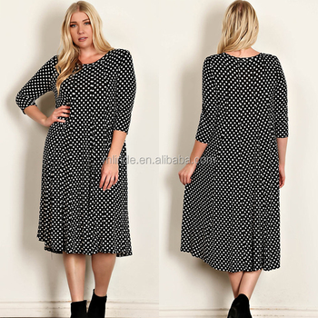 Women Midi Dress Wholesale Bulk Fashion Western Lady Wear Polka Dot Print Scoop Neck Knit Long Sleeve Midi Dress Buy Long Sleeve Midi Dress Flowing