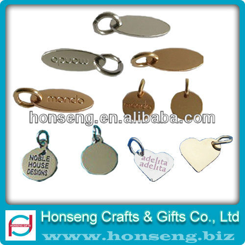 Heart Shape Stamped Jewelry Metal Logo Tags