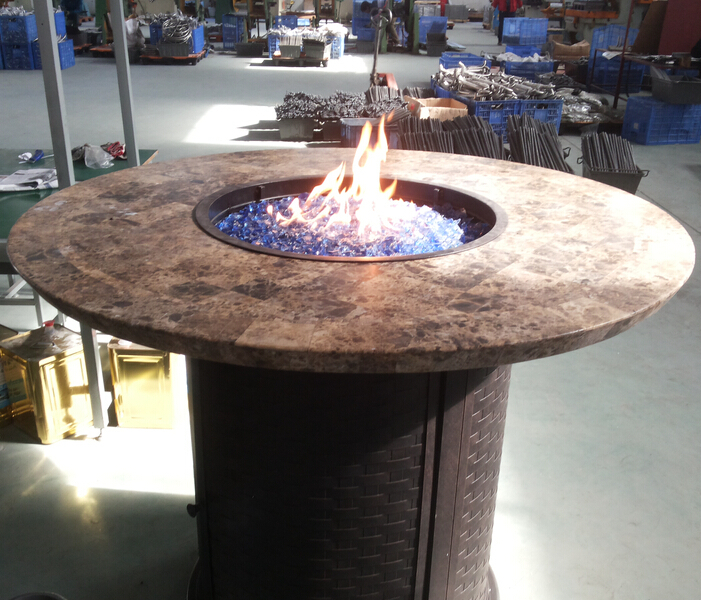 Gas Fire Pit Table Marble Top Round Outdoor Propane