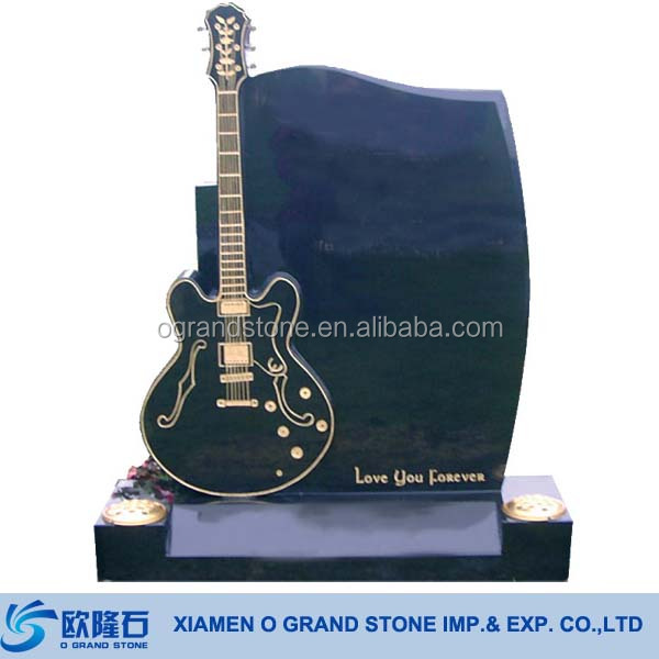 Tombstone China Black Granite Guitar Headstones Monuments