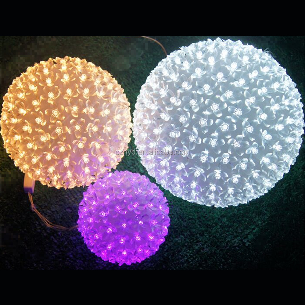 Yellow christmas ornament balls outdoor hanging light for Led outdoor christmas ornaments