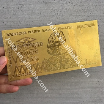 Pure Gold Zimbabwe Banknotes 24k Gold Plated Paper Money For Home