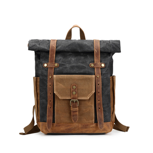 Mergeboon custom waxed canvas genuine leather backpack bag women