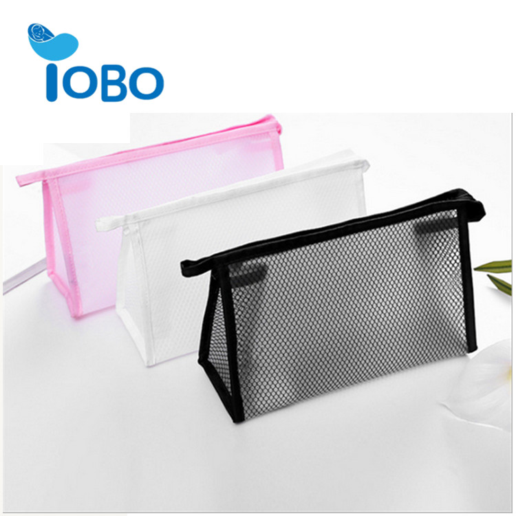 Clear black pink mesh small cosmetic bag makeup bag cosmetic