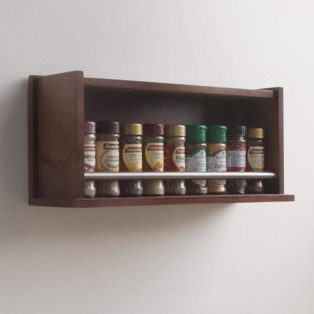 Spice Rack - Wooden - Closed Top - 1 Tier - Stainless Steel Tube - 18 Spice Jars