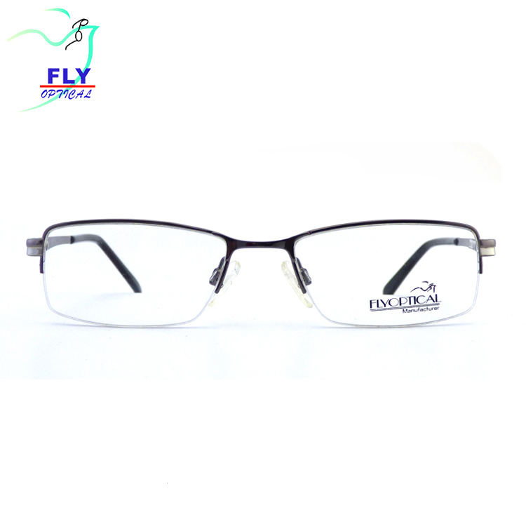 High Quality Classical Metal Optical Eyewear Eyeglasses Stainless Steel Half Rim for MEN Glasses Wholesale