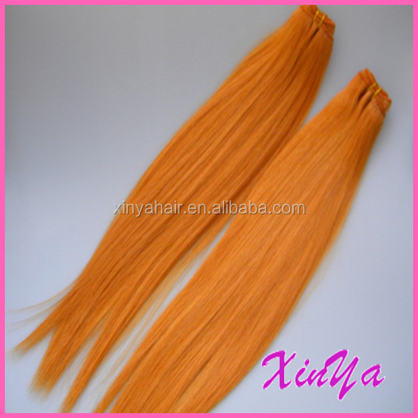"Wholesale top Grade 8""-30"" 7A Silk Straight orange hair extensions weft"