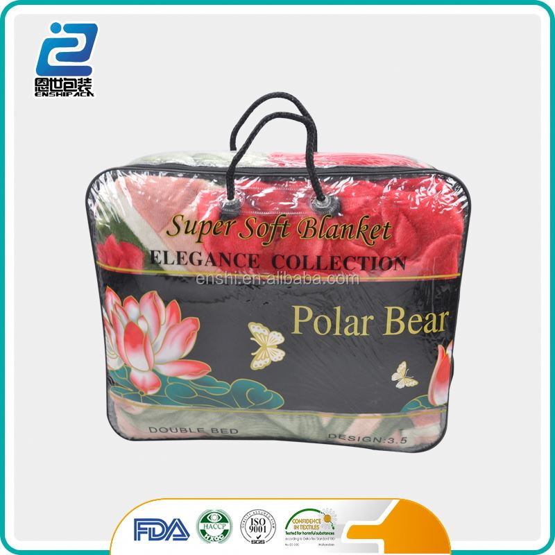 Clear plastic zipper non woven flannel blanket storage bag
