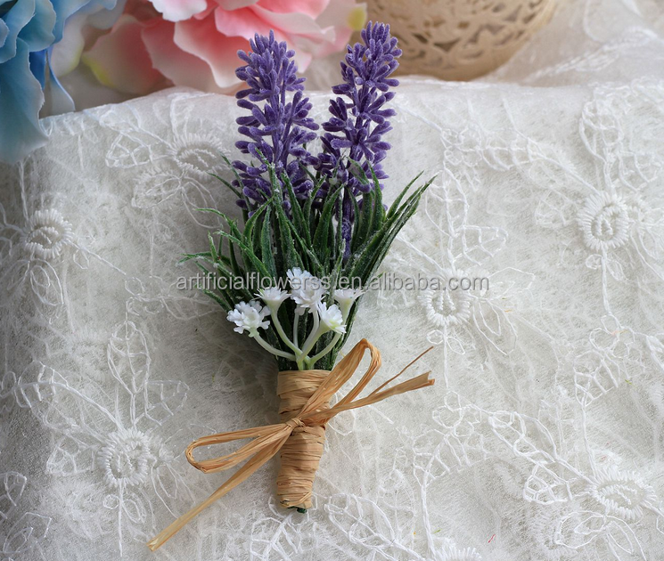 Decor for weddings lavender fabric artificial flower corsage