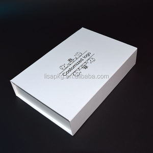 Magetic white box black logo paper box packaging for cosmetic