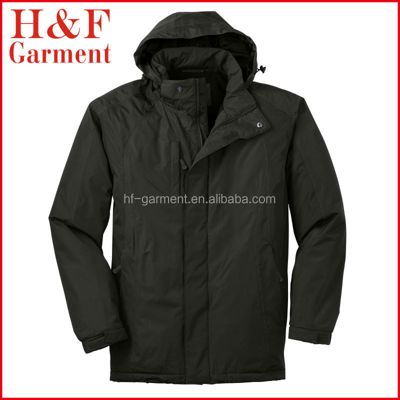 Casual style long sleeve hooded full zip man winter jacket