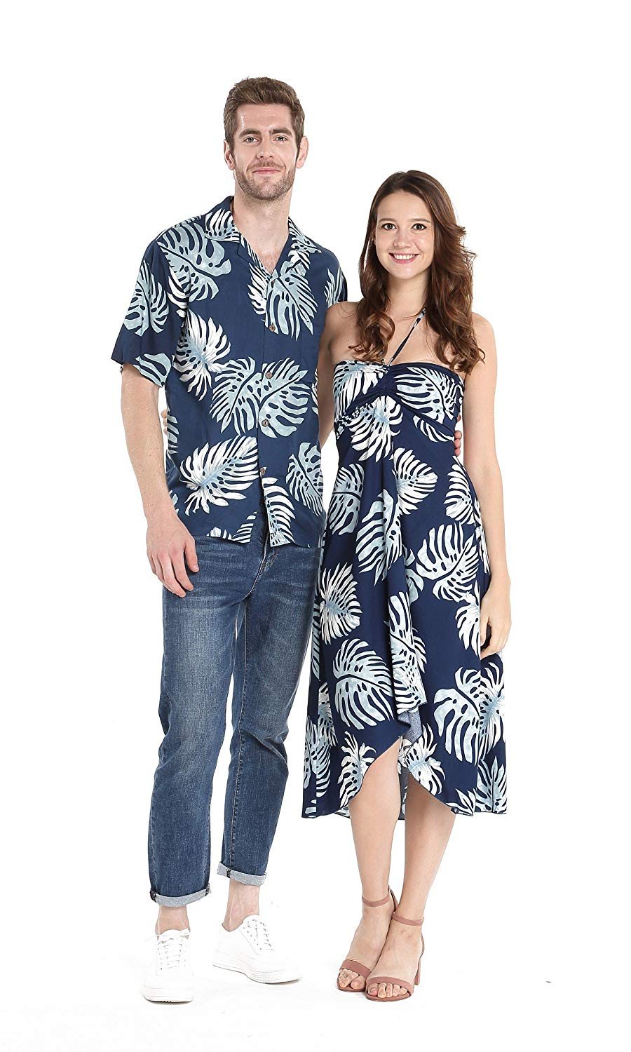 083f76c98ed2 Get Quotations · Hawaii Hangover Couple Matching Hawaiian Luau Party Outfit  Set Shirt Dress in Black Rafelsia