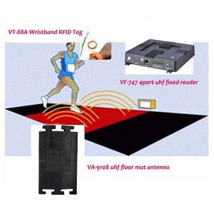 VA-9108 complete rfid sports marathon race timing systems with free software/ 4ports reader / floor mat antenna/ dogbone bib tag