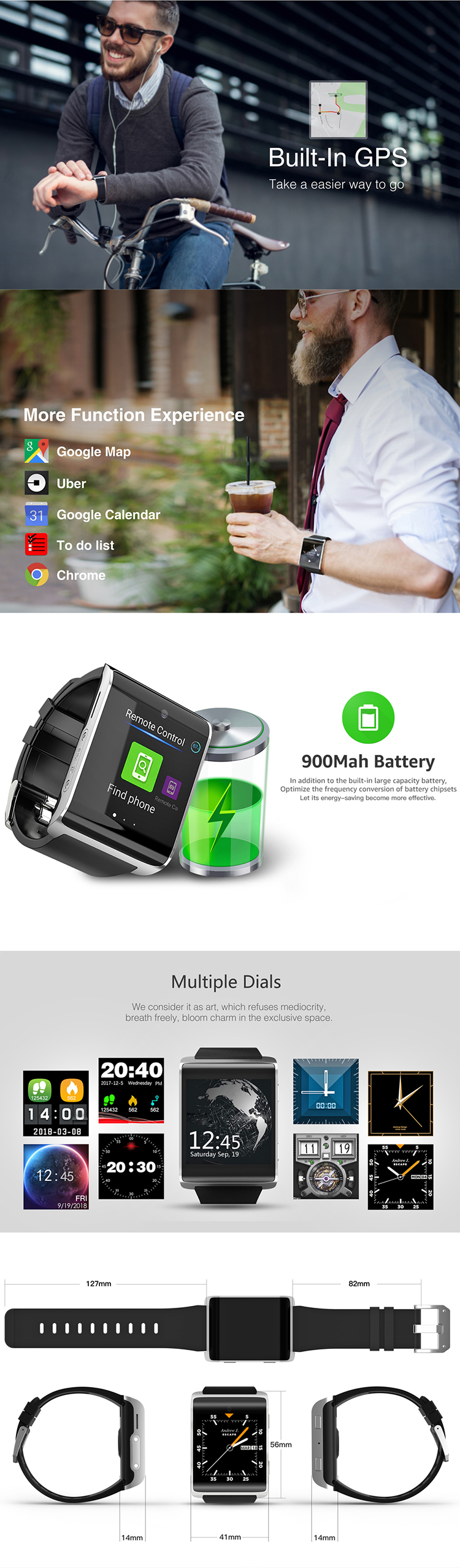 DM2018 Smart Watch 1.54 inch IPS MT6737M Quad Core 1+16G WIFI GPS Android 6.0 Sim card 4G Smart Phone Watch