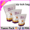 YASON standing aluminum foil pouch with zipper metal parts resealable ziplock bag with hang hole mini zipper bag sewed on board