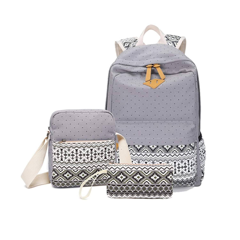 3-Set Backpacks, Women s Casual Canvas Cute Lightweight Backpacks for Teen  Young Girls Laptop f3d4cf5758