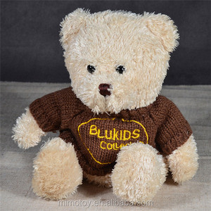 CE Certification Plush Brown Bear Toy With Sweater Wholesale Custom LOGO Stuffed Soft Plush Toy Teddy Bear Factory China