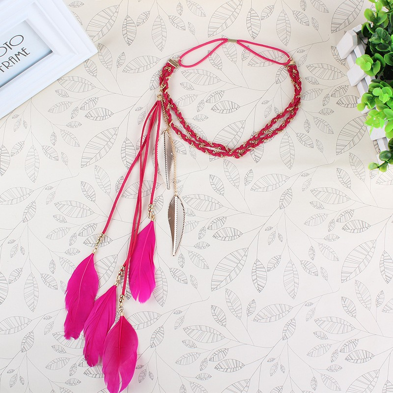 Bohemian Braided Headband Headwear Feather Elastic Head Band