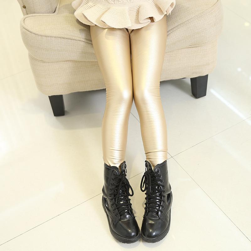 b87623f21 Latest design winter fashion modle pants slim elastic mature girls shiny  kids tights warm leather leggings