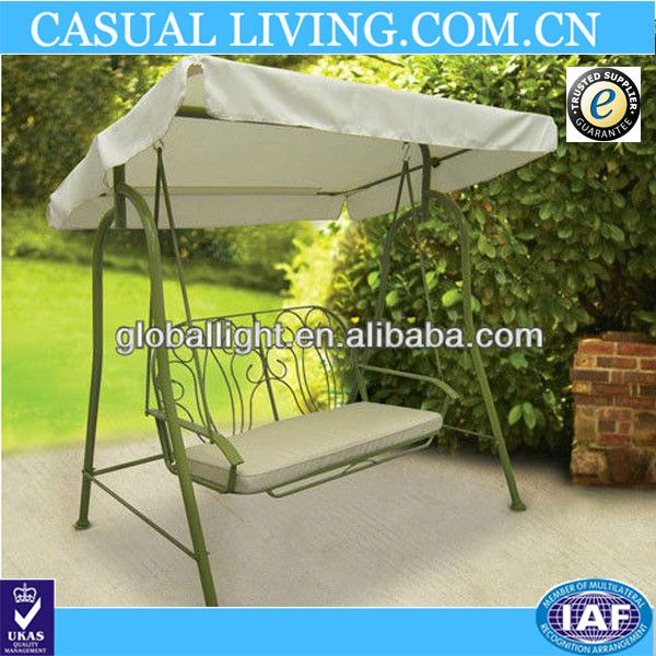 Steel Frame Promotional 3 Seater Wrought Iron Patio Swing For Garden
