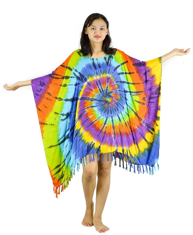 2021afe92c3 Get Quotations · Lifestyle Batik Stroke Style Tie Dye Batik Women Plus Size  Tunic Poncho Caftan Top 55