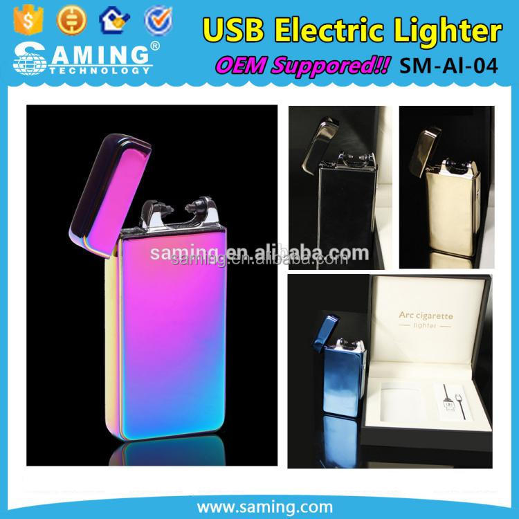 2017 New Fashion Colourful Lithium Battery Rechargeable USB Electric Electronic Cigarette Arc Lighter Supplier