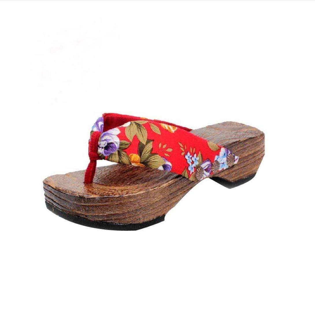 Flop Sandals for Woman,Clearance!! 2018 Duseedik Summer Platform Shoes Wood Women Sandals Clog Wooden Slippers Flip Flops Summer Sandal On sale (Red, US:7.5(CN:40))