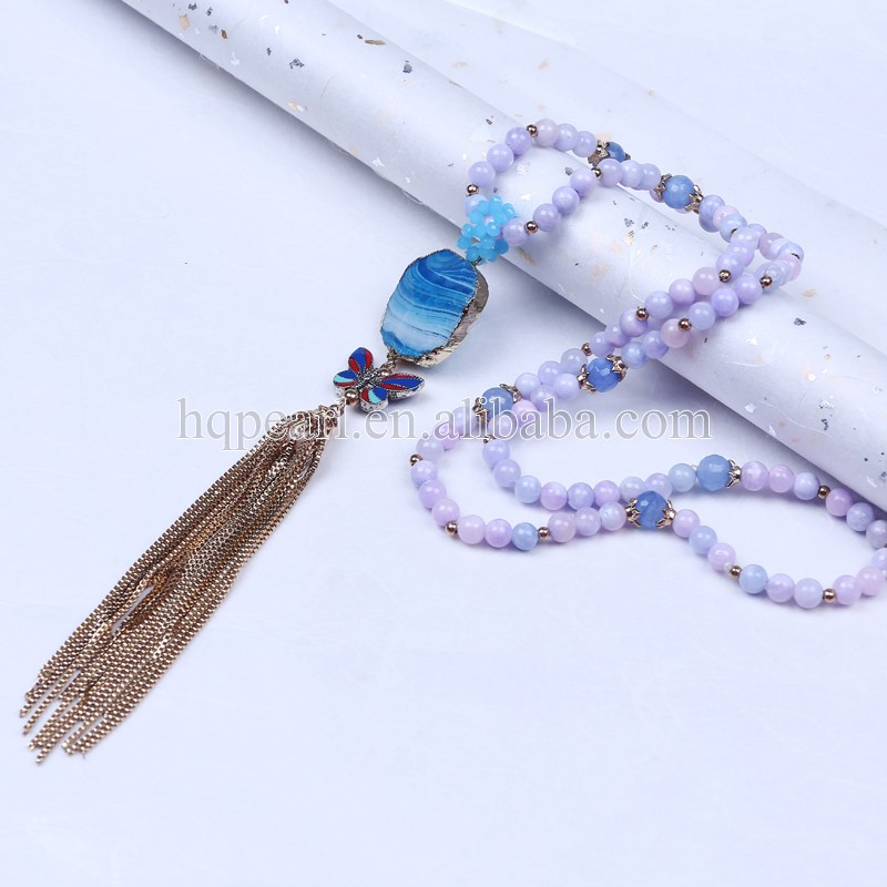 Fashion long tassel necklace designs with agate pendant