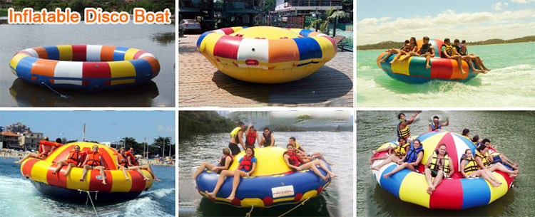 Ocean Sea Floating Watersports Toys 6 Person Inflatable UFO Saturn Balloon Disco Boats Ride Ball Towable Disco Boat Inflatable