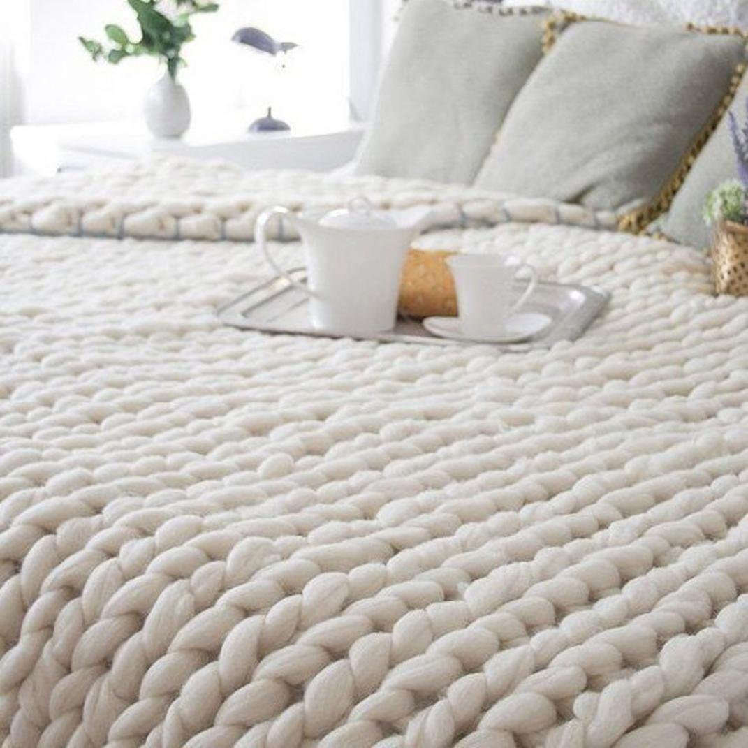 ad0454b0cc Get Quotations · Hand Chunky Knitted Blanket