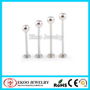 316L Surgical Steel Cheek Piercing Extra Long Labret with CZ Gem Labret Piercing