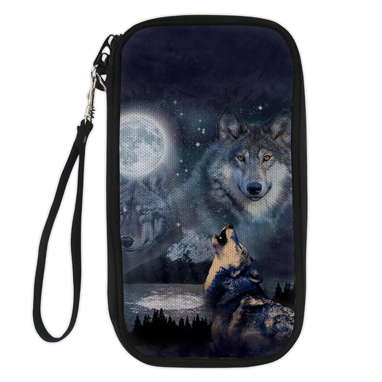 UNICEU Cool Wolf Passport Wallets for Men Business Travel Family Passport Holder Neck Bag