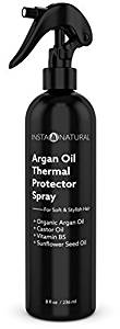 Thermal Protector Hair Spray - Heat Protectant Against Flat Iron - With Organic Argan Oil, Castor Oil, Vitamin B5 & Sunflower Seed Oil - Prevents Dryness, Damage & Split Ends - InstaNatural - 8 OZ