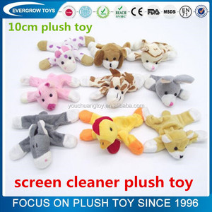 custom mini stuffed animal shape screen cleaner plush toy