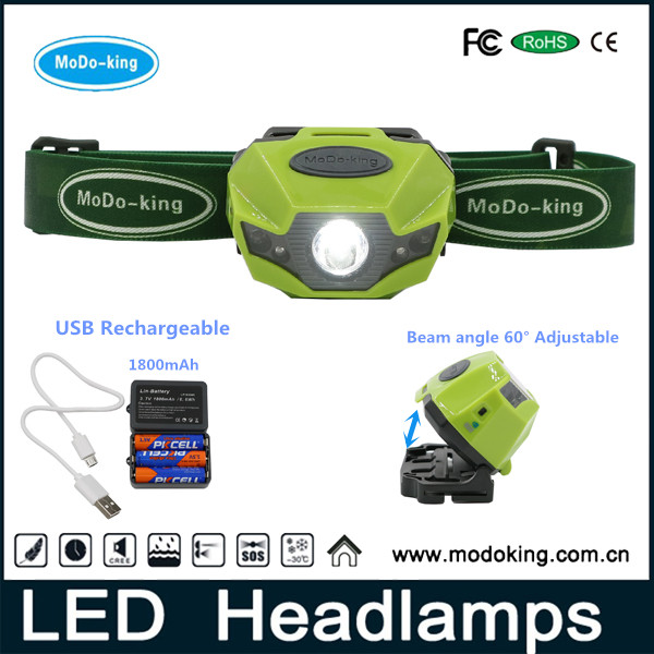 Factory Professional High Performance camping headlamp, USB rechargeable with aaa battery headlamp from MoDoking wholesale