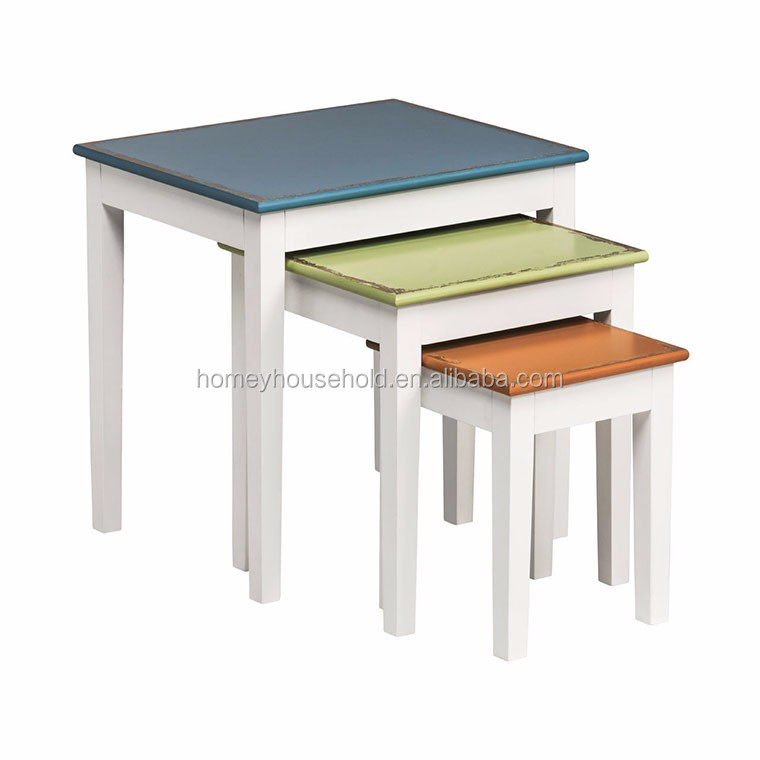 French Market Coffee Table: Colorful Wood Nesting Side Table/coffee Table/whole Wood