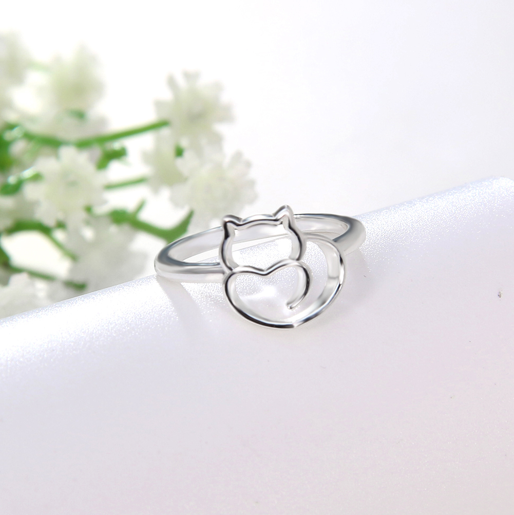 Fashion New Wholesale Stainless Steel Metal Women Jewelry Cat Ring