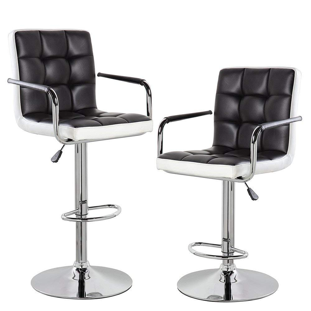 Black KERLAND Morden Adjustable Swivel Bar Stools Set of 2 PU Leather Home Kitchen Bar Chairs with Arms and Padded Back Chrome Footrest