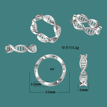 <span class=keywords><strong>Design</strong></span> unico 925 gioielli in argento sterling donne <span class=keywords><strong>3D</strong></span> stampato DNA anello