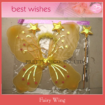Yellow butterfly wing wand and headpiece kit wholesale for Butterfly wands wholesale