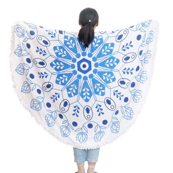 china supplier customized printed round beach towels with tassels