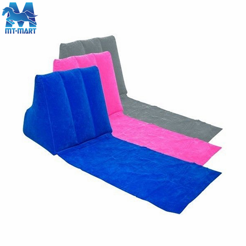Newest luxury inflatable air <strong>bed</strong> back support reading pillow, PVC flocking wholesale air mattress <strong>bed</strong> wedge pillow